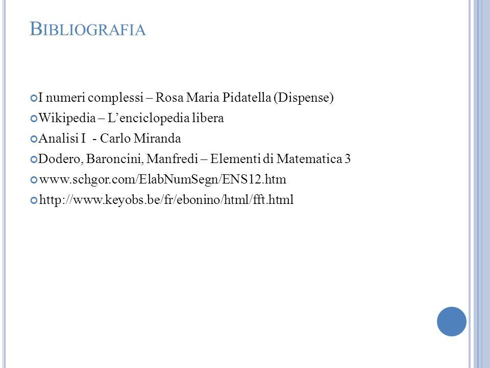 B IBLIOGRAFIA I numeri complessi – Rosa Maria Pidatella (Dispense) Wikipedia – Lenciclopedia libera Analisi I - Carlo Miranda Dodero, Baroncini, Manfr