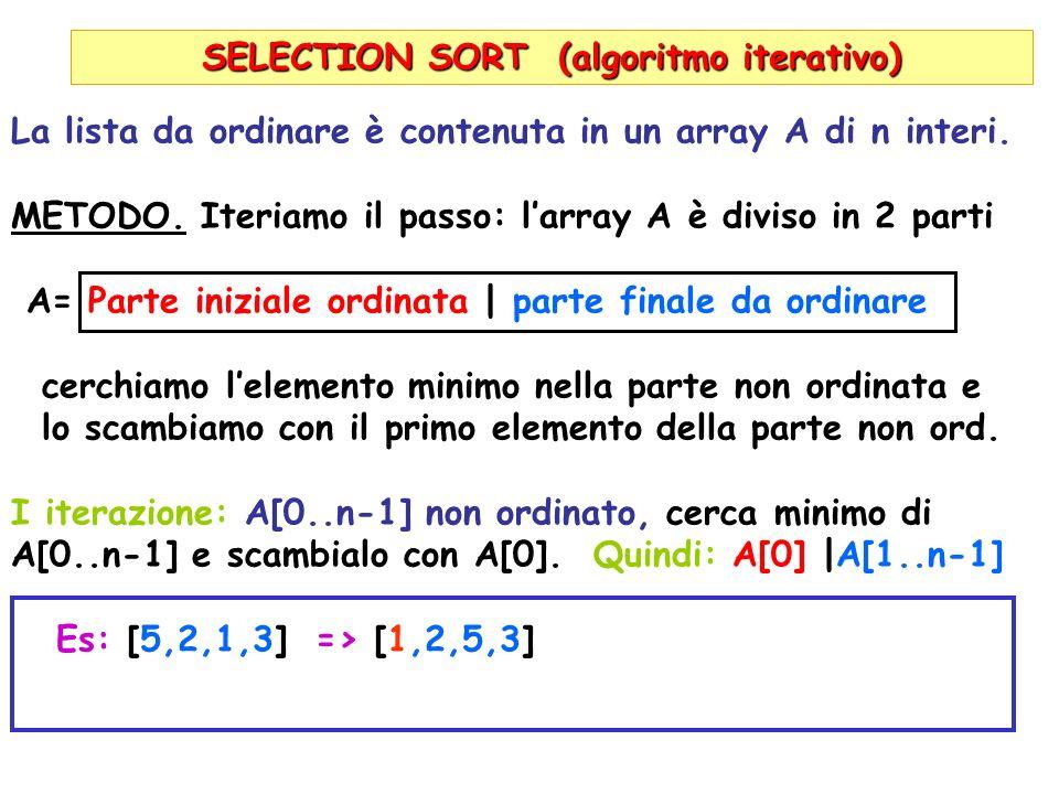 SELECTION SORT (algoritmo iterativo) La lista da ordinare è contenuta in un array A di n interi.