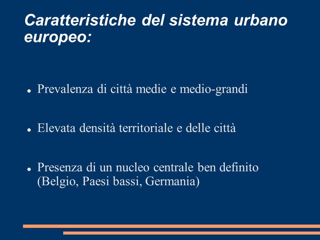 Caratteristiche del sistema urbano europeo: Prevalenza di città medie e medio-grandi Elevata densità territoriale e delle città Presenza di un nucleo