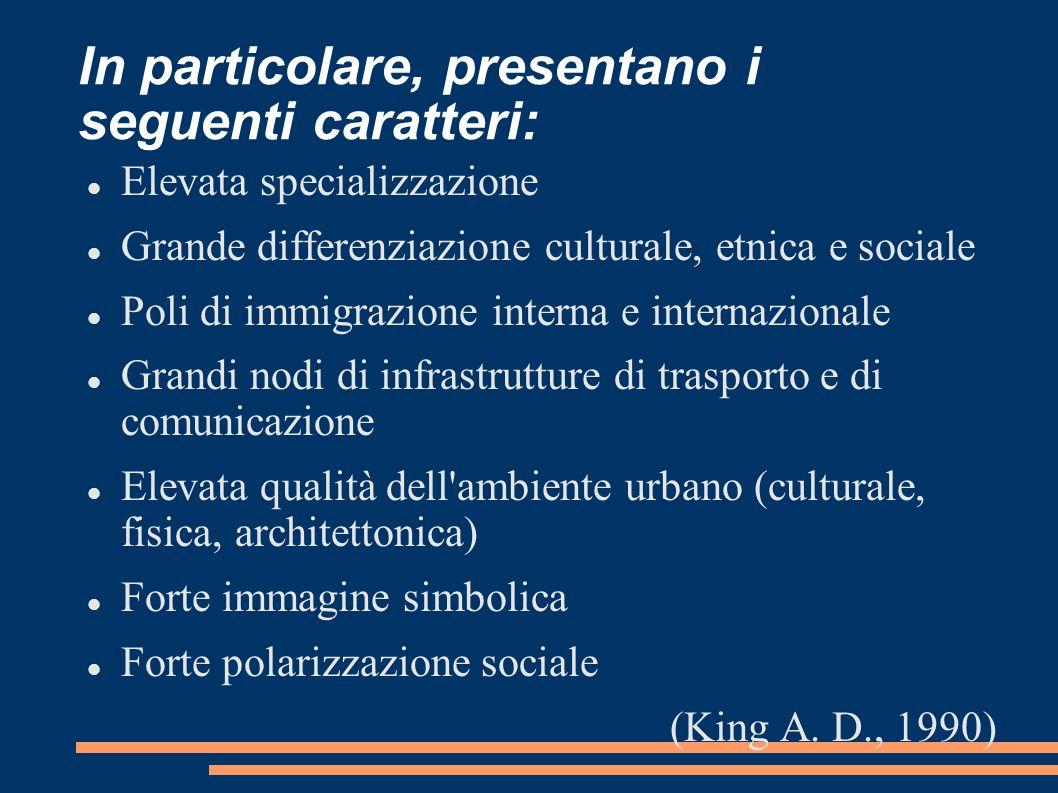 In particolare, presentano i seguenti caratteri: Elevata specializzazione Grande differenziazione culturale, etnica e sociale Poli di immigrazione int