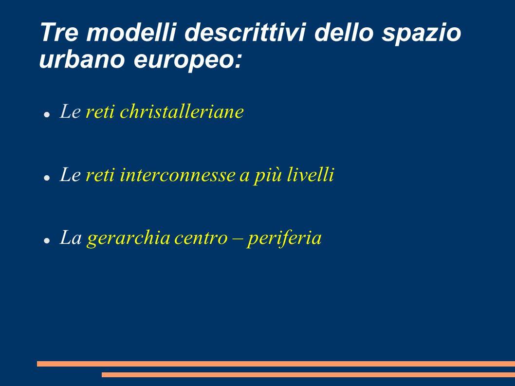 Tre modelli descrittivi dello spazio urbano europeo: Le reti christalleriane Le reti interconnesse a più livelli La gerarchia centro – periferia