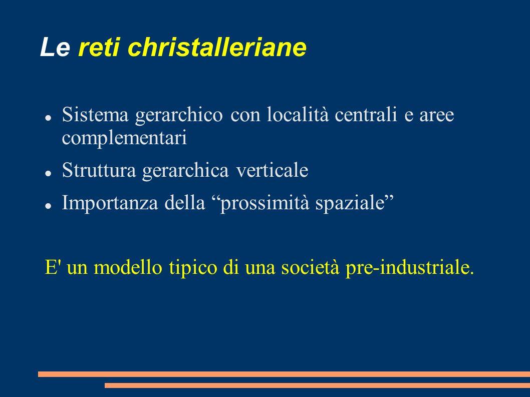 Le reti christalleriane Sistema gerarchico con località centrali e aree complementari Struttura gerarchica verticale Importanza della prossimità spazi