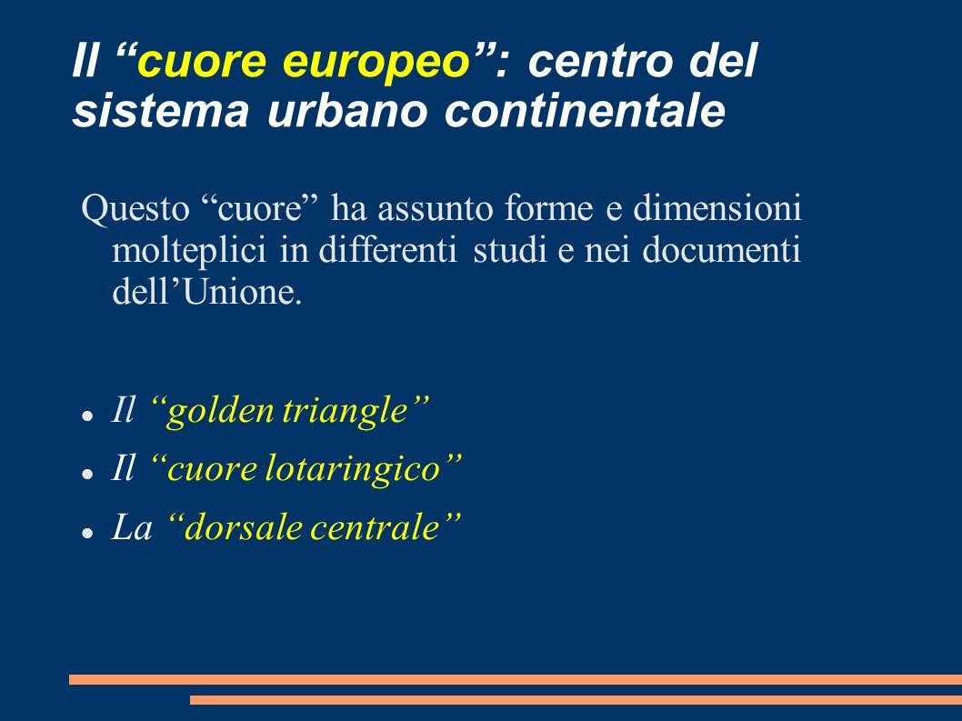 Il cuore europeo: centro del sistema urbano continentale Questo cuore ha assunto forme e dimensioni molteplici in differenti studi e nei documenti del