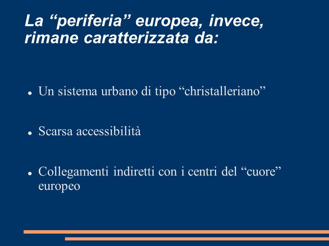 La periferia europea, invece, rimane caratterizzata da: Un sistema urbano di tipo christalleriano Scarsa accessibilità Collegamenti indiretti con i ce
