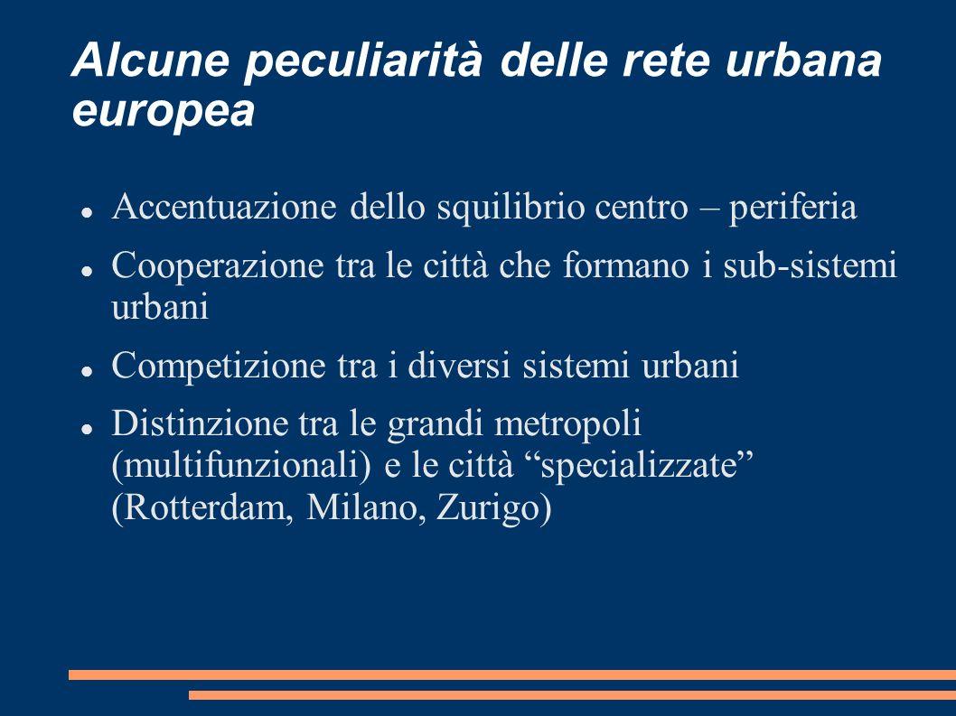 Alcune peculiarità delle rete urbana europea Accentuazione dello squilibrio centro – periferia Cooperazione tra le città che formano i sub-sistemi urb
