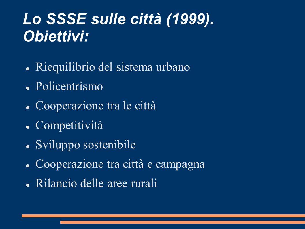 Lo SSSE sulle città (1999). Obiettivi: Riequilibrio del sistema urbano Policentrismo Cooperazione tra le città Competitività Sviluppo sostenibile Coop