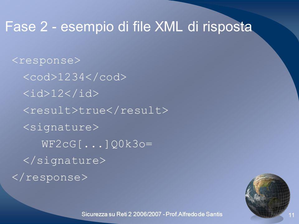 Sicurezza su Reti 2 2006/2007 - Prof.Alfredo de Santis 11 Fase 2 - esempio di file XML di risposta 1234 12 true WF2cG[...]Q0k3o=