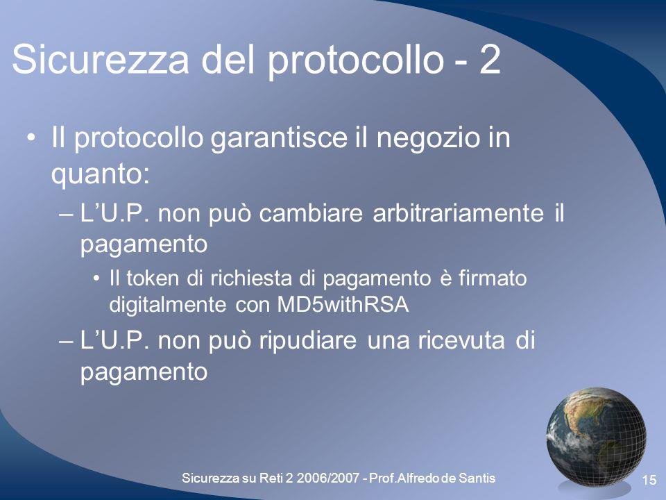 Sicurezza su Reti 2 2006/2007 - Prof.Alfredo de Santis 15 Sicurezza del protocollo - 2 Il protocollo garantisce il negozio in quanto: –LU.P.