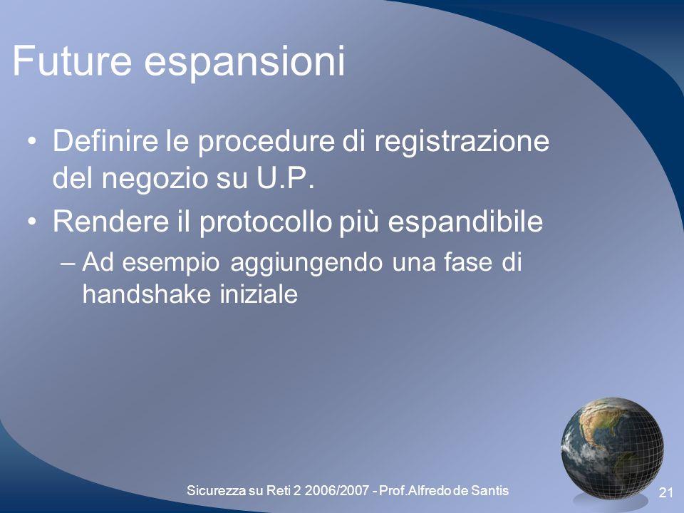 Sicurezza su Reti 2 2006/2007 - Prof.Alfredo de Santis 21 Future espansioni Definire le procedure di registrazione del negozio su U.P.