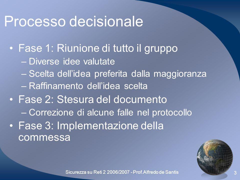 Sicurezza su Reti 2 2006/2007 - Prof.Alfredo de Santis 4 Outline Processo decisionale Presentazione del protocollo Sicurezza del protocollo Difficoltà riscontrate Future espansioni Conclusioni finali