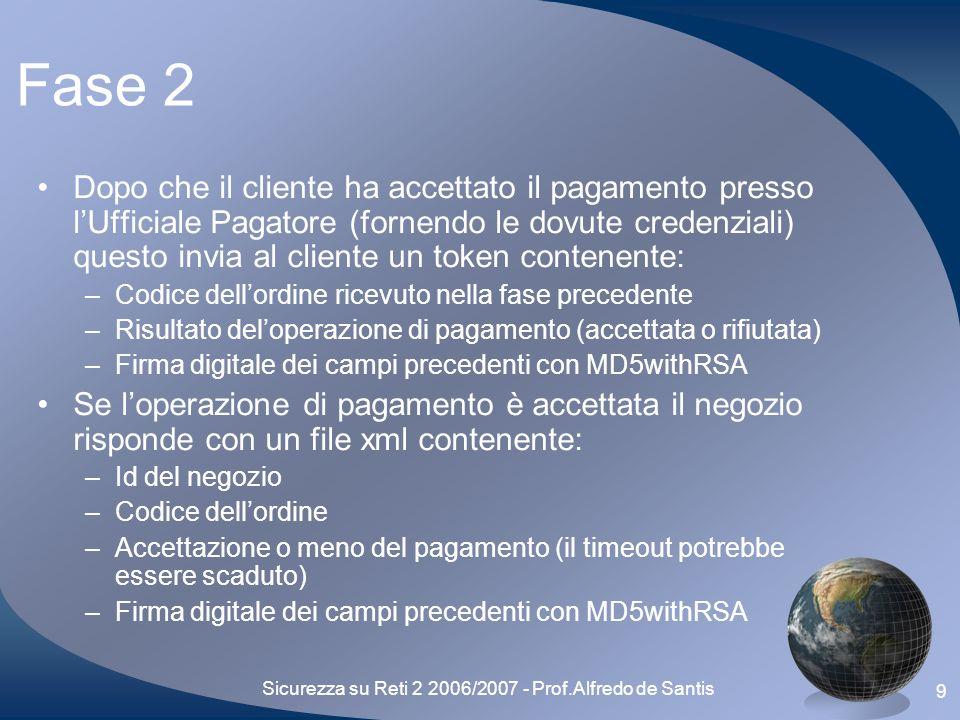 Sicurezza su Reti 2 2006/2007 - Prof.Alfredo de Santis 10 Fase 2 (2) Se loperazione di pagamento è stata rifiutata il negozio risponde semplicemente con 204 (No Content) e il protocollo termina qui Se il timeout del negozio è scaduto il protocollo termina sulla risposta del negozio