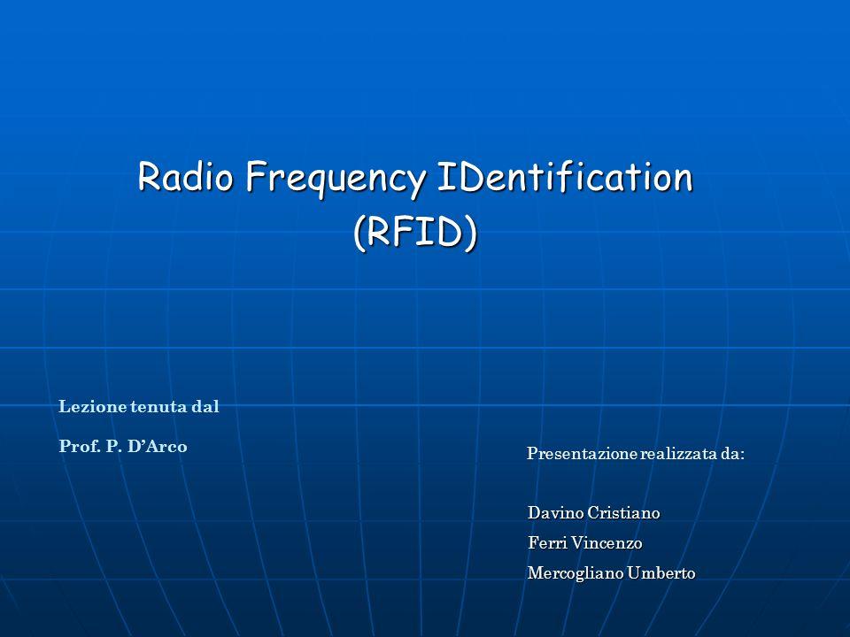 Radio Frequency IDentification (RFID) Presentazione realizzata da: Davino Cristiano Ferri Vincenzo Mercogliano Umberto Lezione tenuta dal Prof.