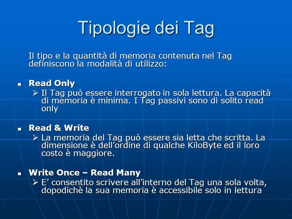 Tipologie dei Tag Il tipo e la quantità di memoria contenuta nel Tag definiscono la modalità di utilizzo: Read Only Read Only Il Tag può essere interrogato in sola lettura.