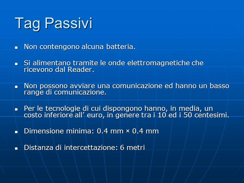 Tag Passivi Non contengono alcuna batteria. Non contengono alcuna batteria.