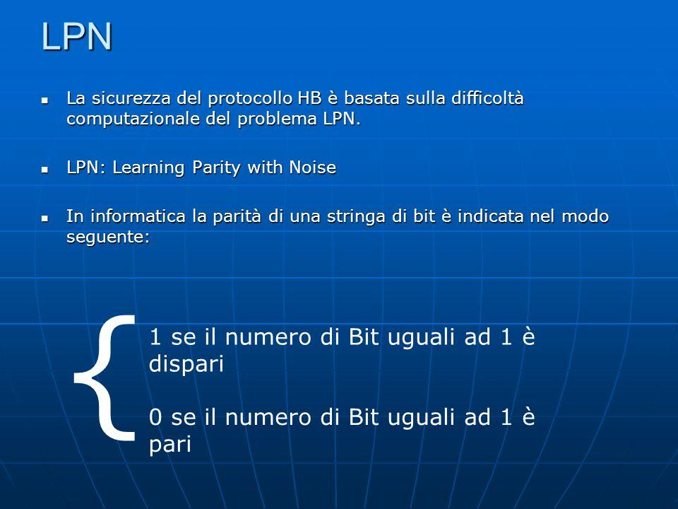LPN La sicurezza del protocollo HB è basata sulla difficoltà computazionale del problema LPN.