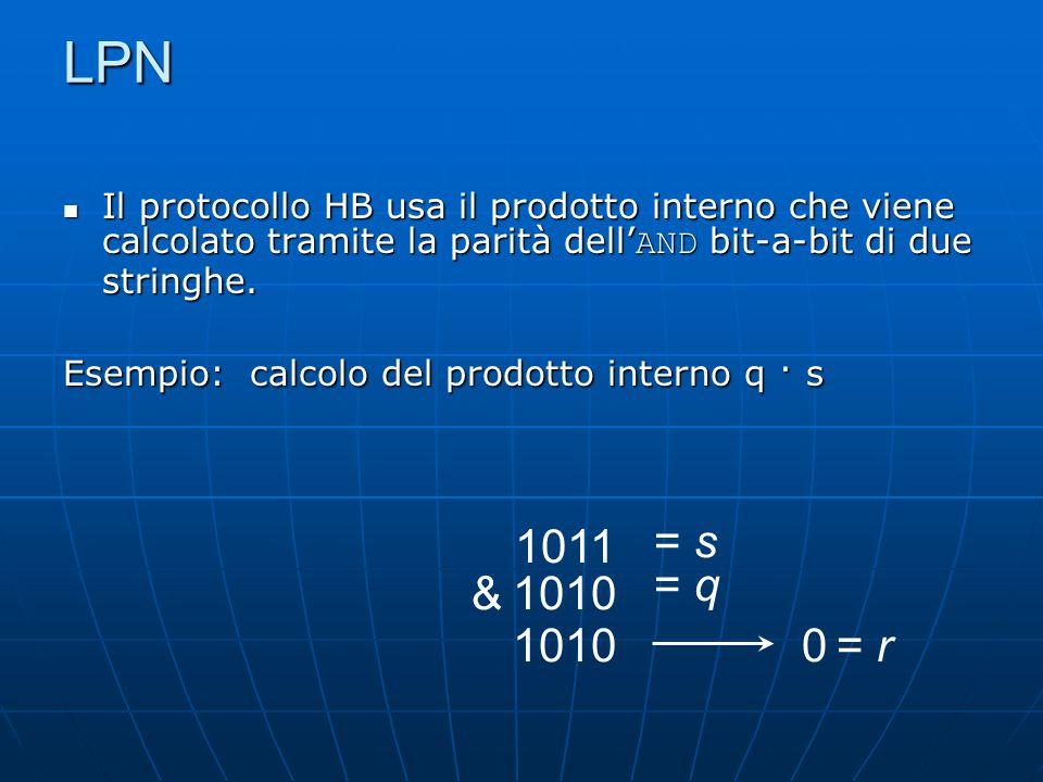 LPN Il protocollo HB usa il prodotto interno che viene calcolato tramite la parità dell AND bit-a-bit di due stringhe.