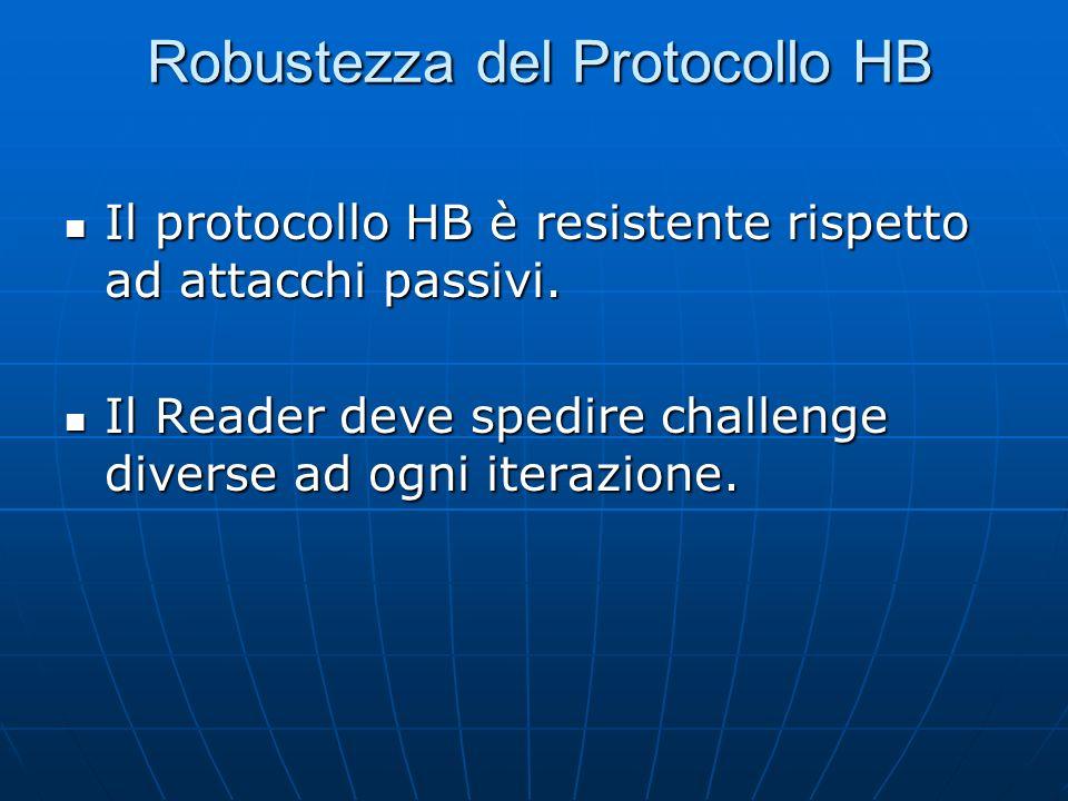Robustezza del Protocollo HB Il protocollo HB è resistente rispetto ad attacchi passivi.