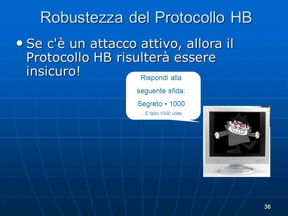 36 Robustezza del Protocollo HB Se c è un attacco attivo, allora il Protocollo HB risulterà essere insicuro.