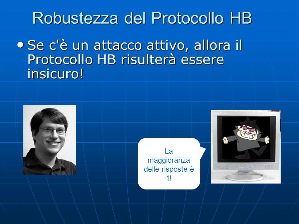 Robustezza del Protocollo HB Se c è un attacco attivo, allora il Protocollo HB risulterà essere insicuro.