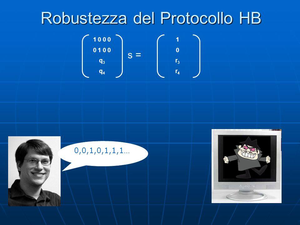 Robustezza del Protocollo HB 0,0,1,0,1,1,1… 1 0 0 0 0 1 0 0 q 3 q 4 s = 10r3r410r3r4