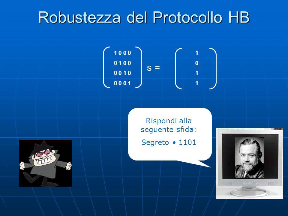 Robustezza del Protocollo HB 10111011 1 0 0 0 0 1 0 0 0 0 1 0 0 0 0 1 s = Rispondi alla seguente sfida: Segreto 1101