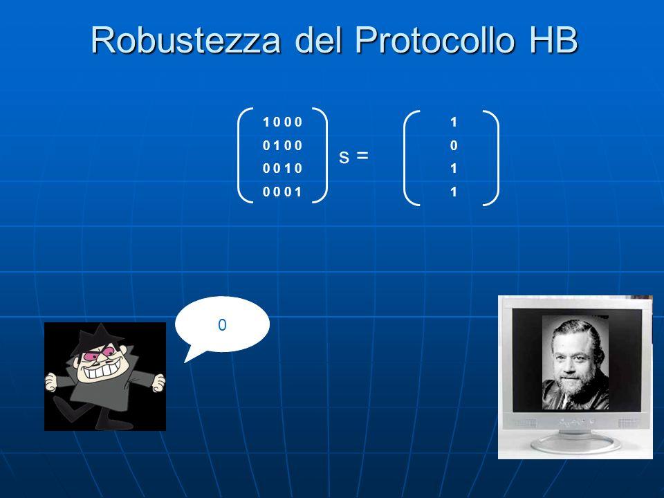 Robustezza del Protocollo HB 0 10111011 1 0 0 0 0 1 0 0 0 0 1 0 0 0 0 1 s =