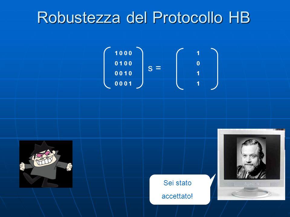 Robustezza del Protocollo HB Sei stato accettato! 10111011 1 0 0 0 0 1 0 0 0 0 1 0 0 0 0 1 s =