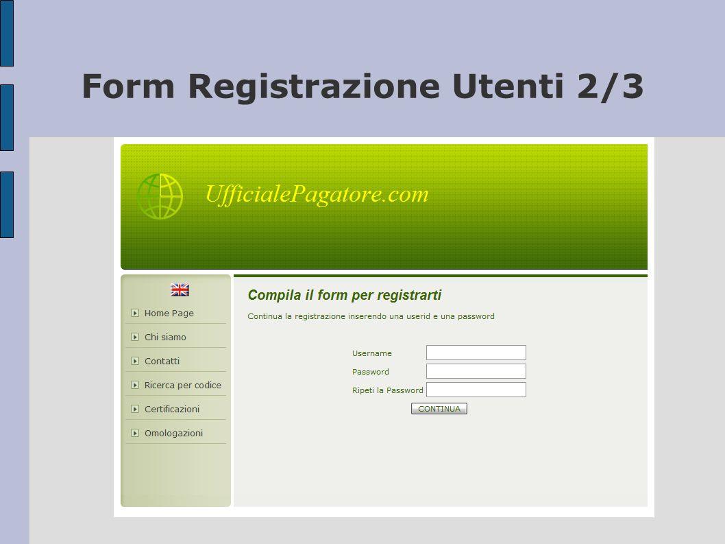 Form Registrazione Utenti 2/3