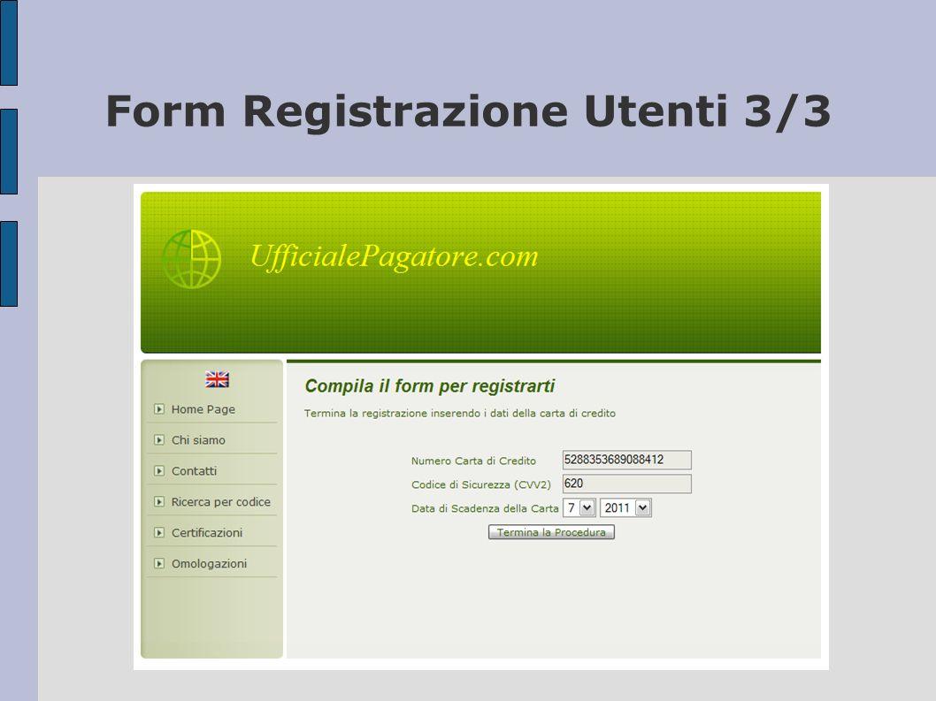 Form Registrazione Utenti 3/3
