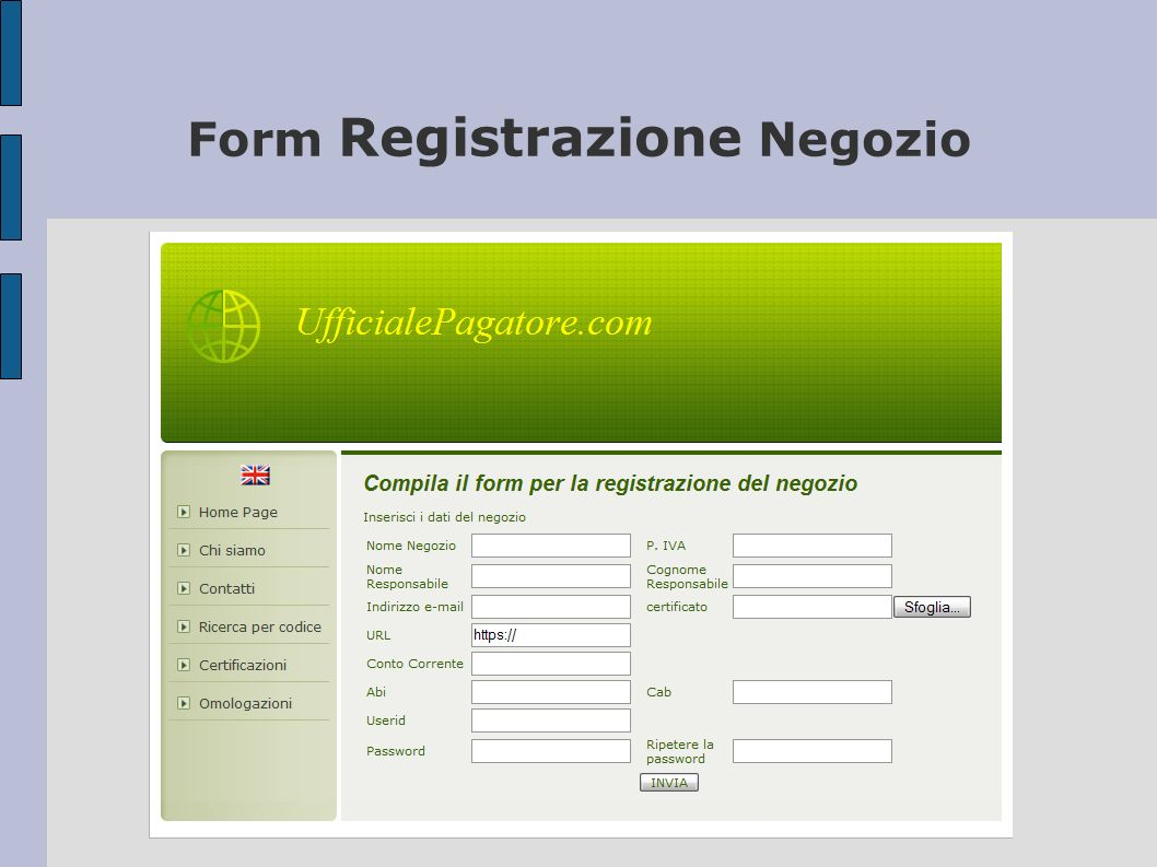 Form Registrazione Negozio