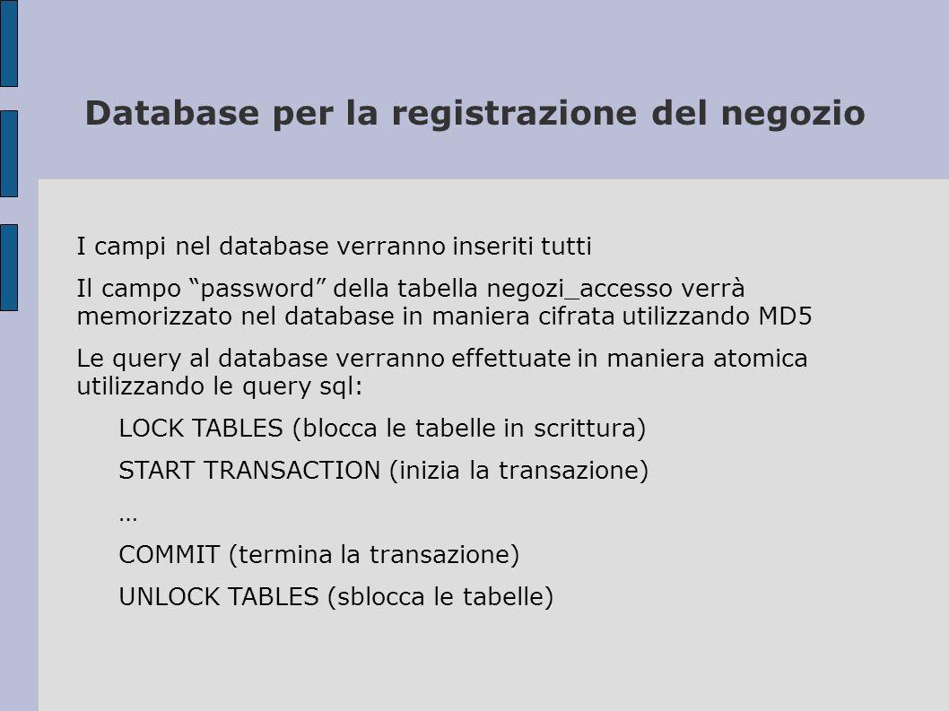 Database per la registrazione del negozio I campi nel database verranno inseriti tutti Il campo password della tabella negozi_accesso verrà memorizzat