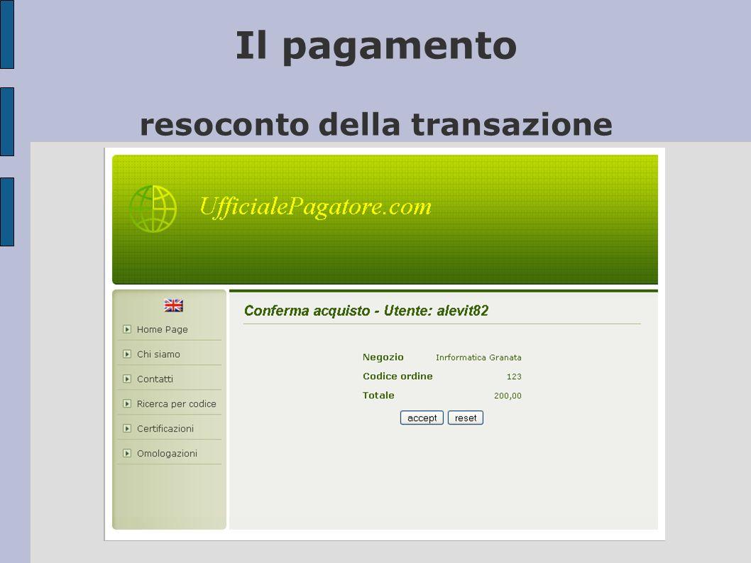 Il pagamento resoconto della transazione