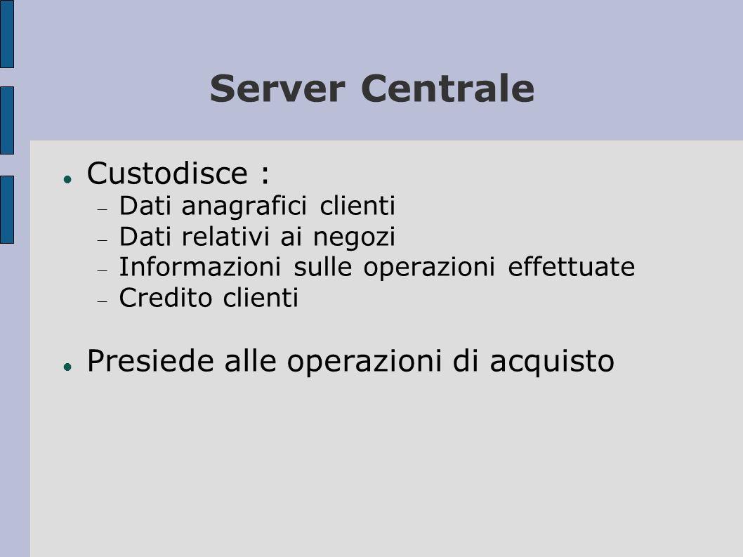 Sportello E ospitato su un ISP Raccoglie i dati relativi agli acquisti e li invia al server centrale Comunica all applicazione chiamante l esito dell operazione