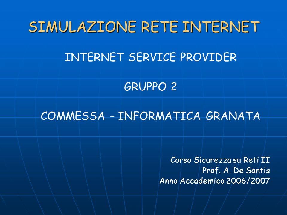 SIMULAZIONE RETE INTERNET INTERNET SERVICE PROVIDER GRUPPO 2 COMMESSA – INFORMATICA GRANATA Corso Sicurezza su Reti II Prof.