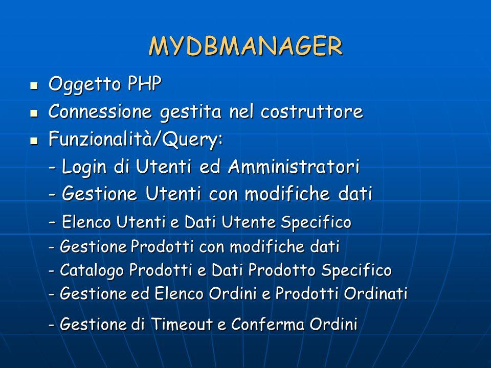 MYDBMANAGER Oggetto PHP Oggetto PHP Connessione gestita nel costruttore Connessione gestita nel costruttore Funzionalità/Query: Funzionalità/Query: - Login di Utenti ed Amministratori - Gestione Utenti con modifiche dati - Elenco Utenti e Dati Utente Specifico - Gestione Prodotti con modifiche dati - Catalogo Prodotti e Dati Prodotto Specifico - Gestione ed Elenco Ordini e Prodotti Ordinati - Gestione di Timeout e Conferma Ordini