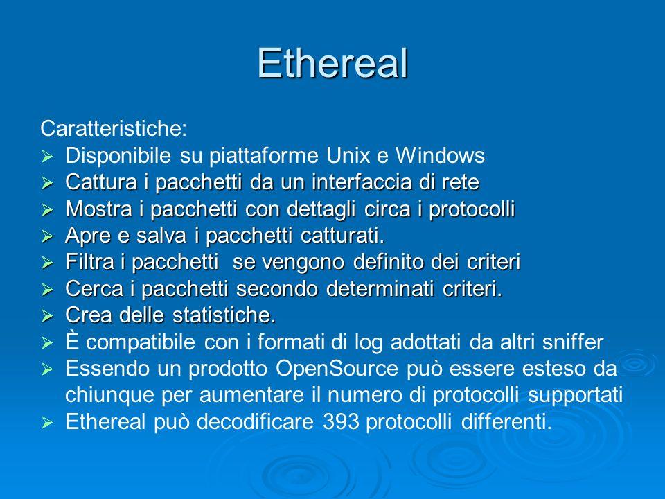 Ethereal Caratteristiche: Disponibile su piattaforme Unix e Windows Cattura i pacchetti da un interfaccia di rete Cattura i pacchetti da un interfacci