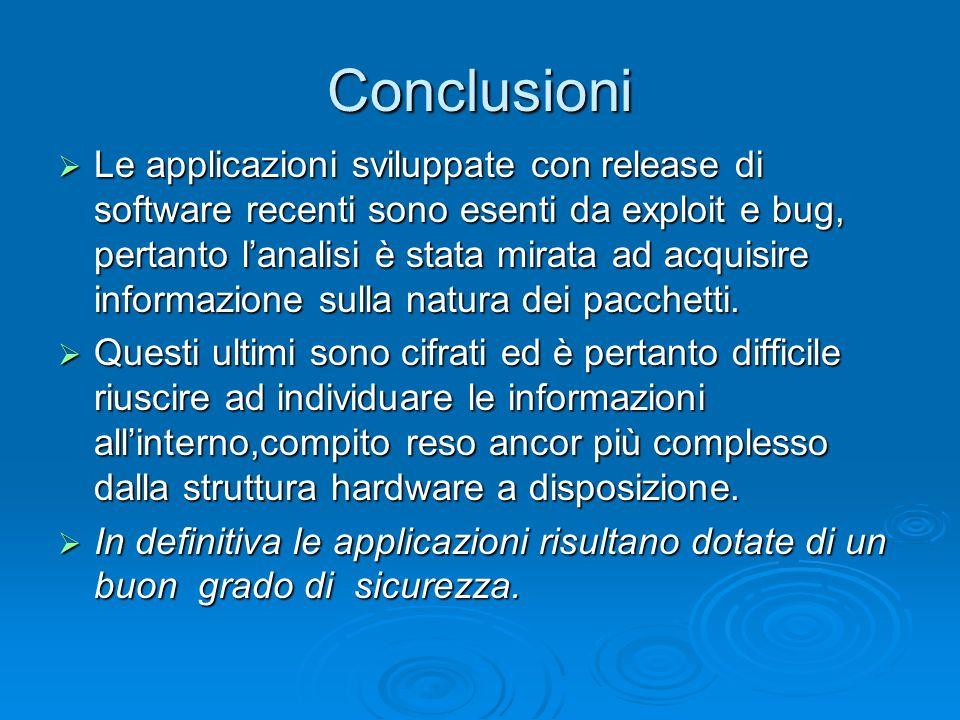 Conclusioni Le applicazioni sviluppate con release di software recenti sono esenti da exploit e bug, pertanto lanalisi è stata mirata ad acquisire inf
