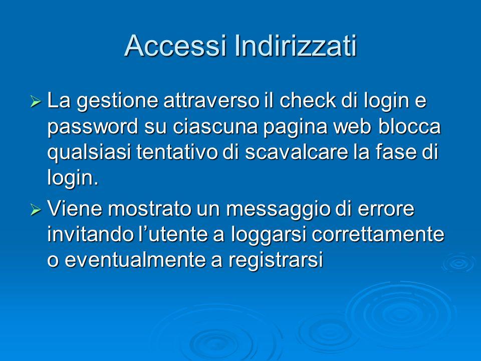 Accessi Indirizzati La gestione attraverso il check di login e password su ciascuna pagina web blocca qualsiasi tentativo di scavalcare la fase di log