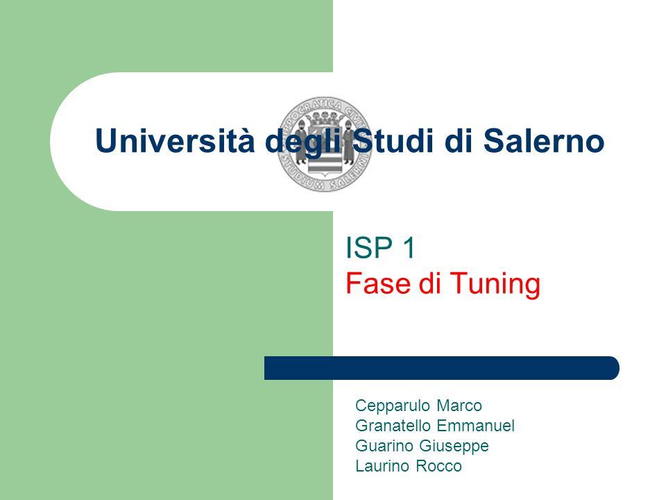 Università degli Studi di Salerno ISP 1 Fase di Tuning Cepparulo Marco Granatello Emmanuel Guarino Giuseppe Laurino Rocco