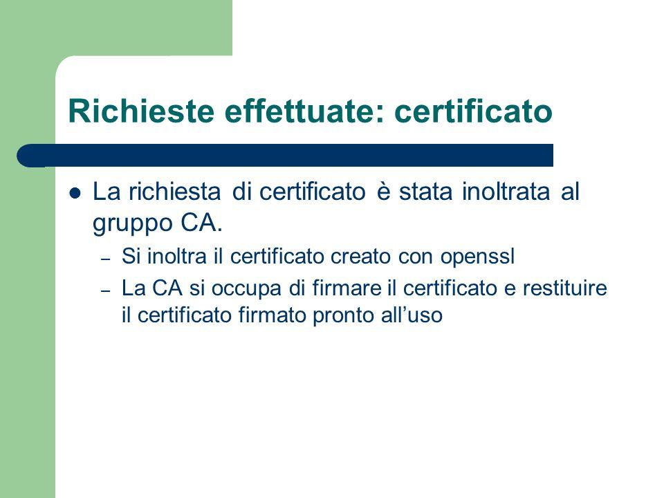 Richieste effettuate: certificato La richiesta di certificato è stata inoltrata al gruppo CA. – Si inoltra il certificato creato con openssl – La CA s
