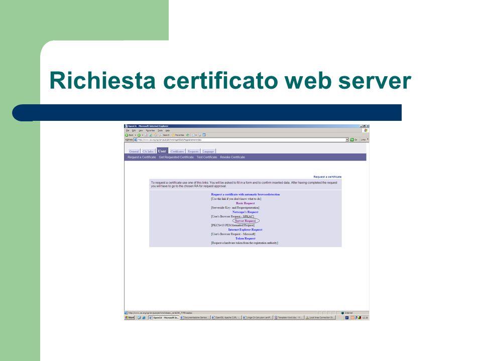 Richiesta certificato web server