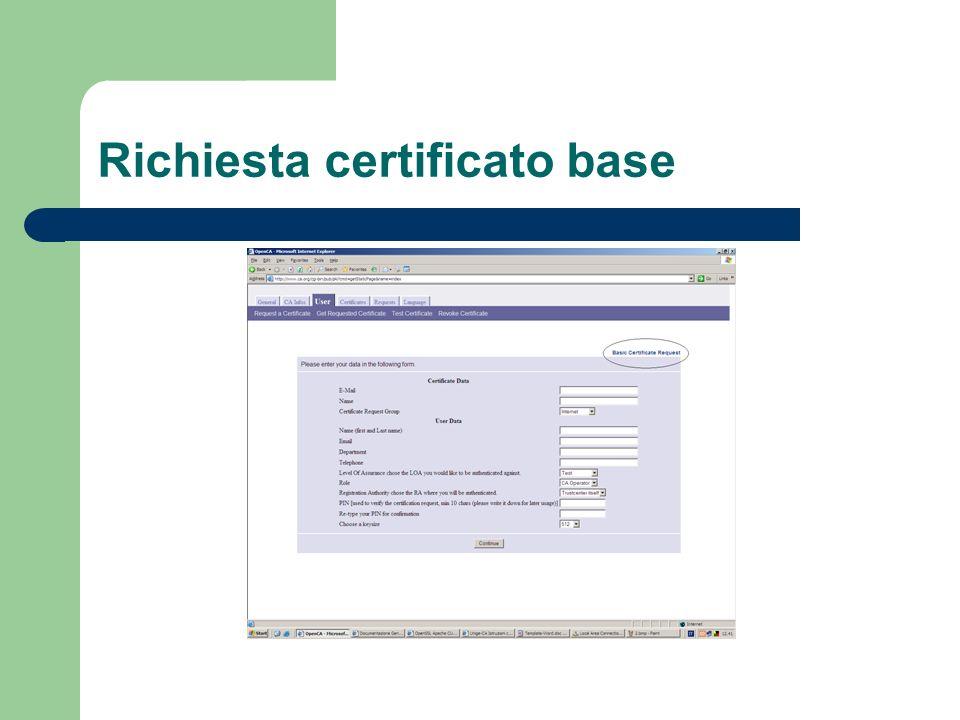 Richiesta certificato base