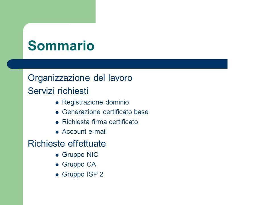 Sommario Organizzazione del lavoro Servizi richiesti Registrazione dominio Generazione certificato base Richiesta firma certificato Account e-mail Ric