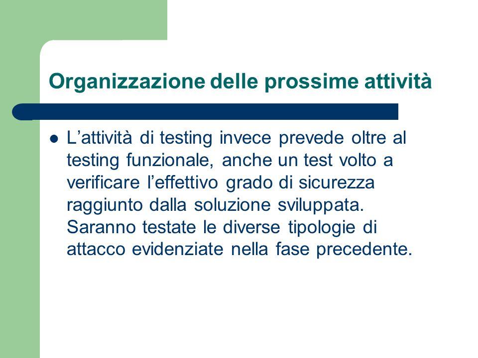 Organizzazione delle prossime attività Lattività di testing invece prevede oltre al testing funzionale, anche un test volto a verificare leffettivo gr