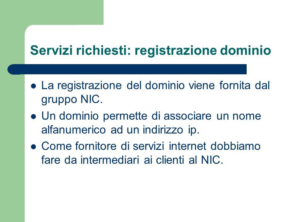 Servizi richiesti: registrazione dominio I clienti tramite il nostro sito potranno effettuare richieste di hosting e registrazione domini.