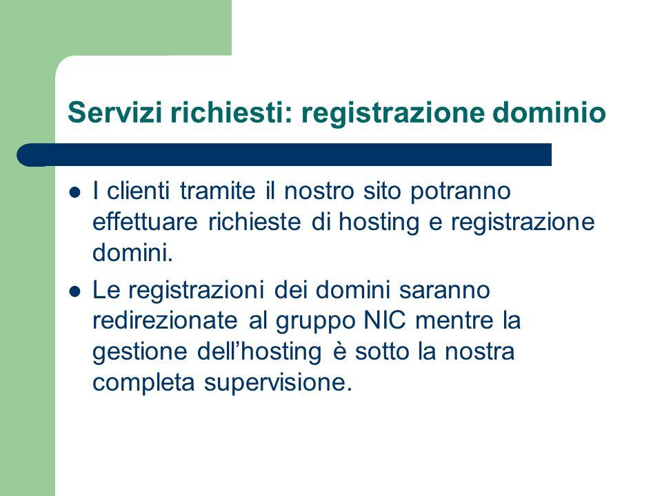 Servizi richiesti: registrazione dominio I clienti tramite il nostro sito potranno effettuare richieste di hosting e registrazione domini. Le registra