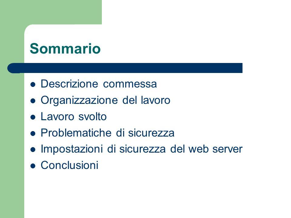 Sommario Descrizione commessa Organizzazione del lavoro Lavoro svolto Problematiche di sicurezza Impostazioni di sicurezza del web server Conclusioni