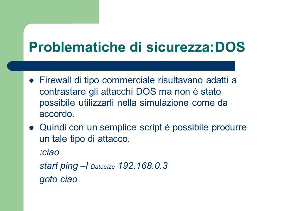 Problematiche di sicurezza:DOS Firewall di tipo commerciale risultavano adatti a contrastare gli attacchi DOS ma non è stato possibile utilizzarli nella simulazione come da accordo.