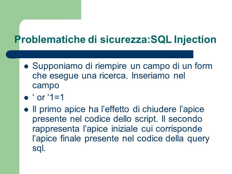 Problematiche di sicurezza:SQL Injection Supponiamo di riempire un campo di un form che esegue una ricerca.