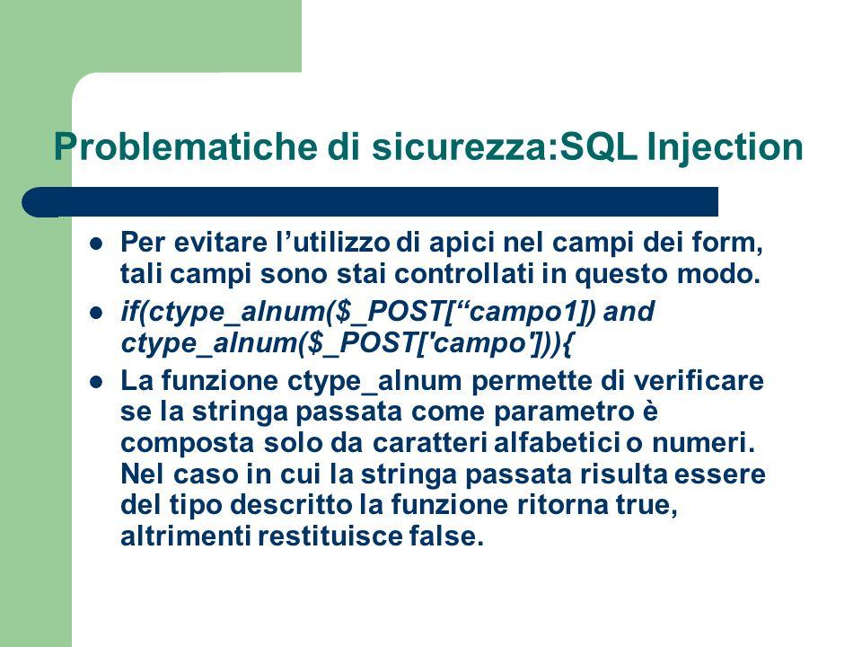 Problematiche di sicurezza:SQL Injection Per evitare lutilizzo di apici nel campi dei form, tali campi sono stai controllati in questo modo.